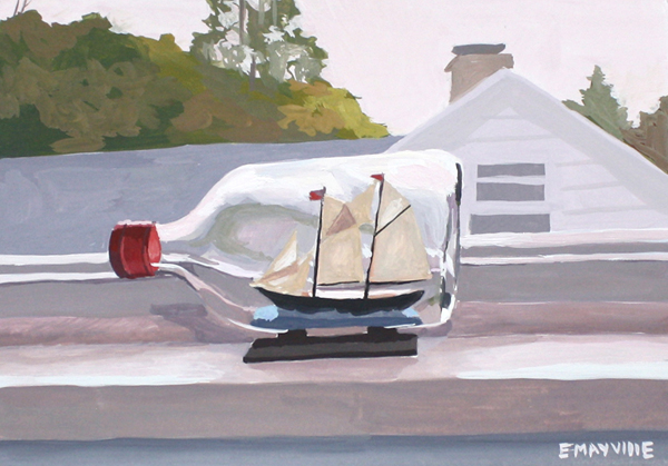 Ship in a Bottle   2015 gouache on paper 5 x 7""