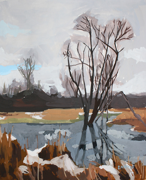 Spring Thaw   2012 gouache on paper 8 x 10""