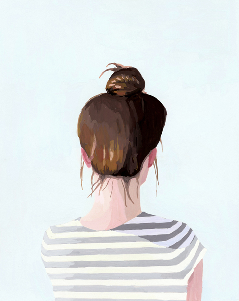Top Knot 14  2012 gouache on paper 8 x 10""
