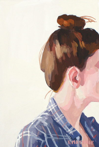 """Top Knot 42   2014 gouache on paper 4 x 6"""""""