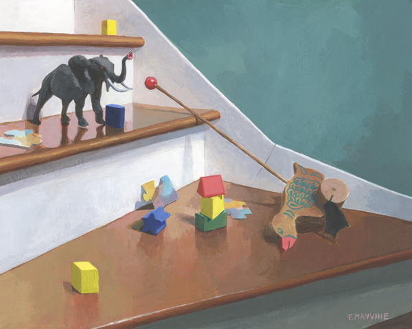 """Toys on the Stairs   2015 acrylic on paper 8 x 10""""  prints available"""