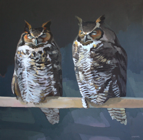 """Two Owls   2012 oil on canvas 36 x 36"""""""