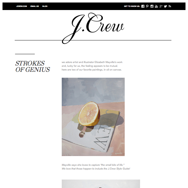 """Strokes of Genius"",  Jcrew.tumblr.com , July 11 2012"