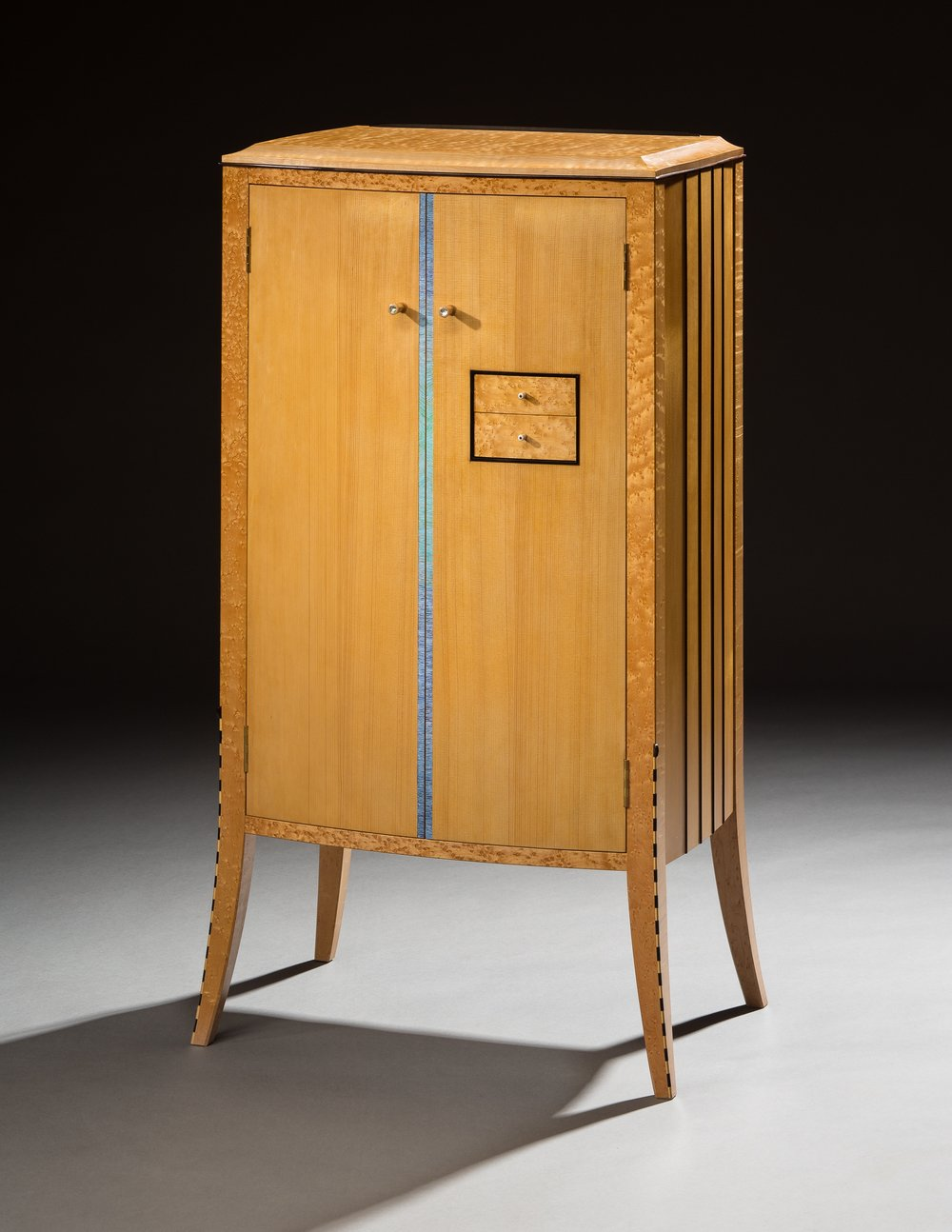 Duet, 2014, music cabinet in Engelman spruce, birdseye maple, ebony, poplar, paint details by Carolyn Hack