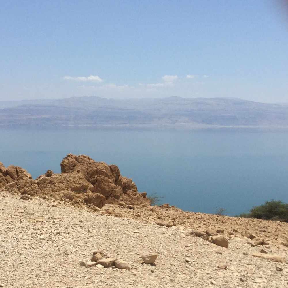 The Dead Sea, 400'+ below sea level, Jordan in the distance. Dunking in it was surreal.