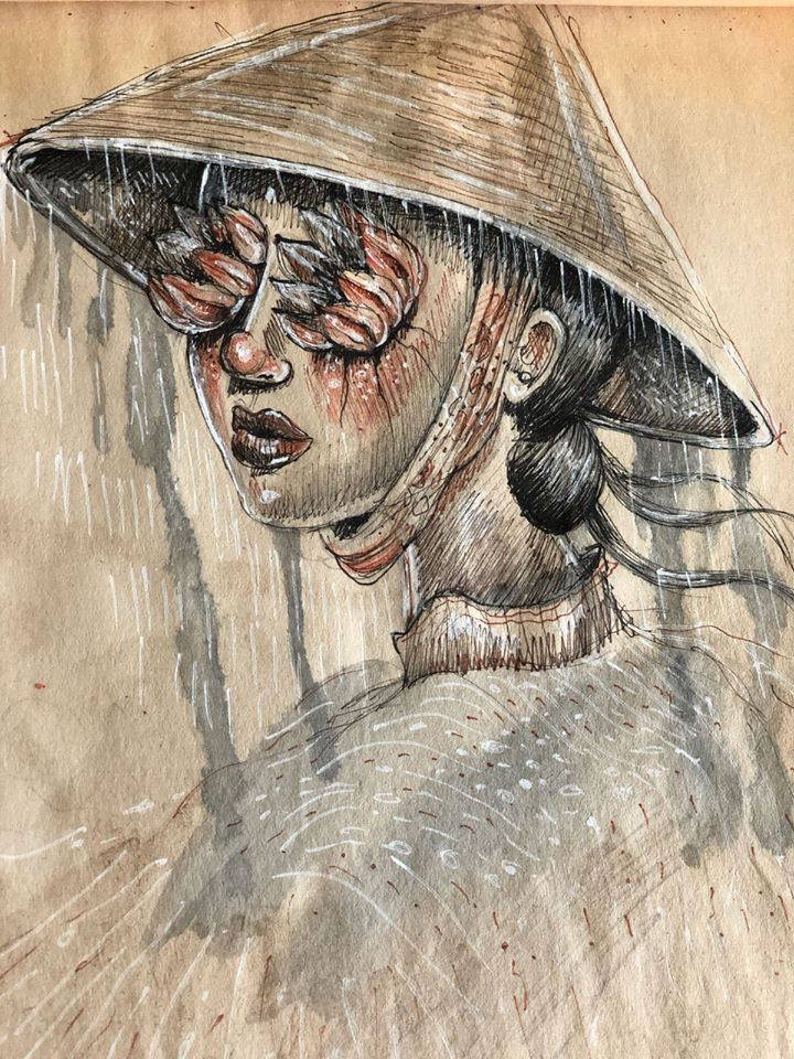 Vietnamese Woman (2018)  Ink and watercolor on paper  12 x 8.5 inches