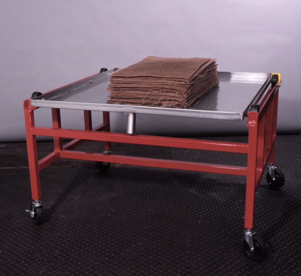 Rolling cart with stainless steel couching/ drain tray