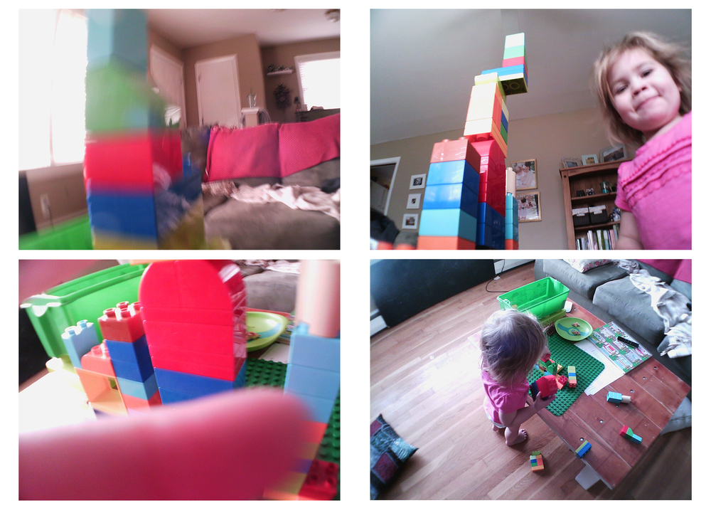 We had fun playing with blocks. Guess which photos Isla took..