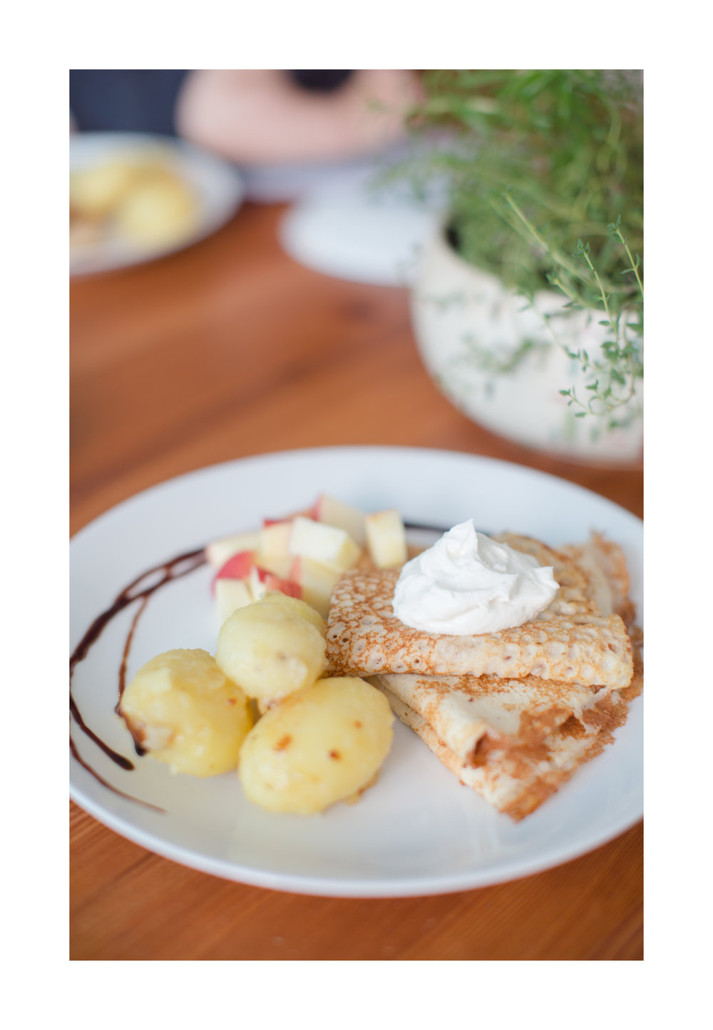 Skyr with Icelandic Pancakes and Carmelized Potatoes