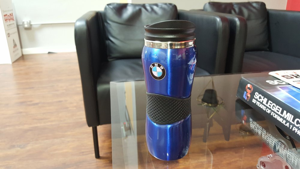 bmw travel mug  Donated by   BMW of Fremont . 1 winner. Estimated value: $21.