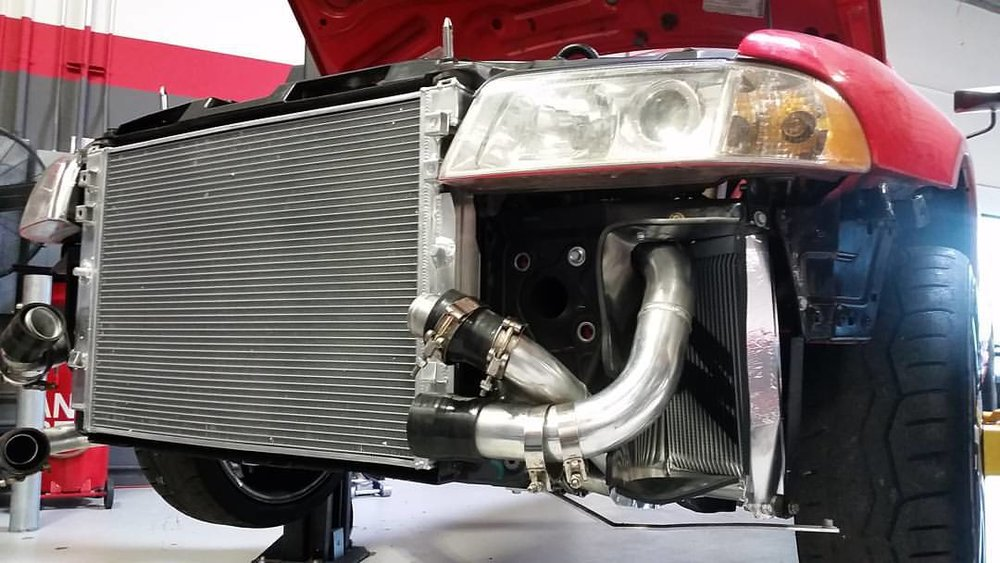 To stay cool, we added an aluminum radiator and oil cooler. Some sheet metal was used for ducting to the oil cooler.