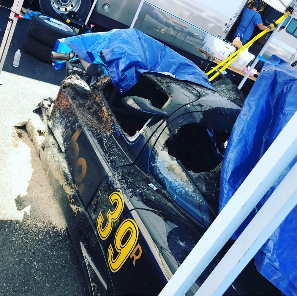 The aftermath of the $250,000 Ultima GTR after it was recovered by NASA race officials