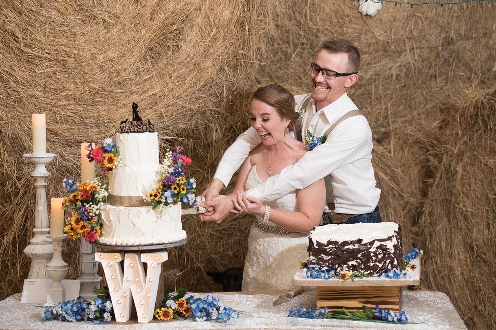 116 cutting the cake in farm wedding in texas.jpg