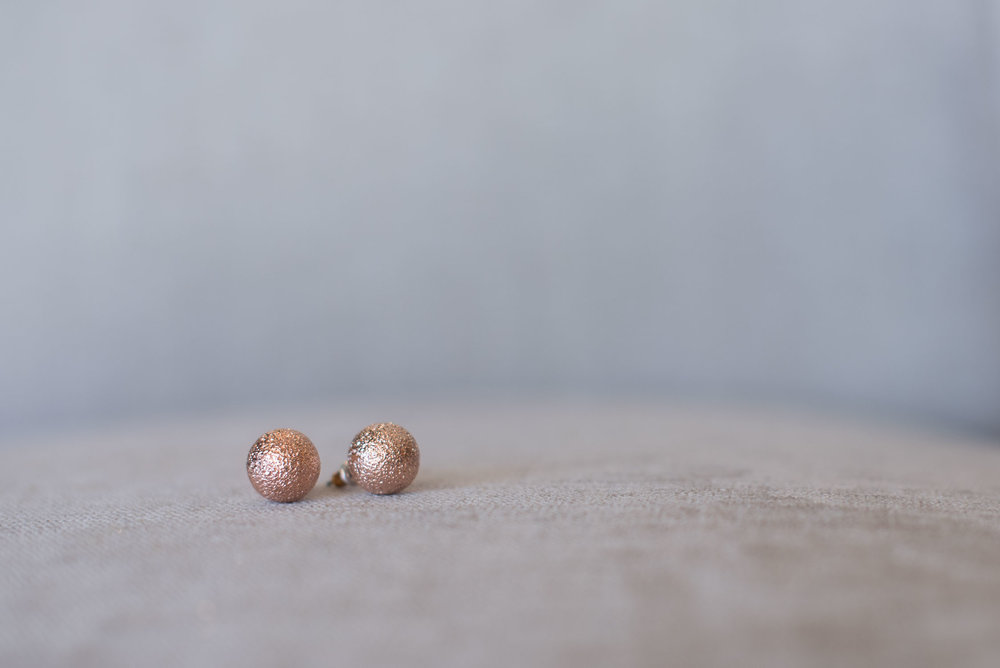 10. rose gold stud earrings for wedding day bride.jpg