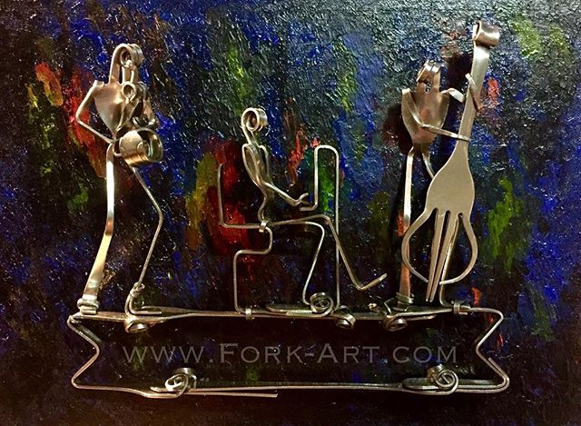 Been getting back to #painting with my newest #jazztrio this is #acryliconwood and #readytohang #forkart #forkartgetbent #forkyeah #sculpture #metal #jazzcat #jazz #music #muscians #musician #musicianslife #sax #stainlesssteel #art #artistsoninstagram #wallart #walldecor #decor