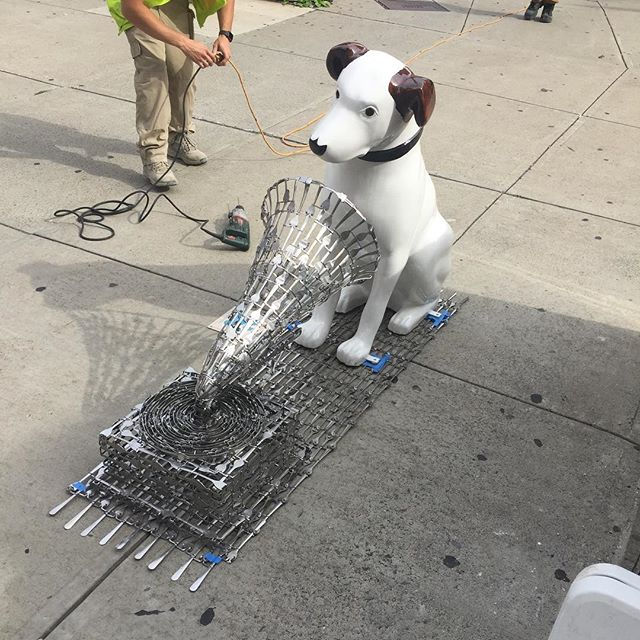 We missed #nationaldogday yesterday, but here is a photo from when Matt's #nipperdog got installed as part of the #albany is pawsome #publicart exhibit #forkart #sculpture #nipper #victor #hismastersvoice #forkartgetbent #albanyny #downtownispawsome #dogsofinstagram #dogsofinstgram #doggonecute #dogs #artinpublic #metal #stainless steel @downtownalbany