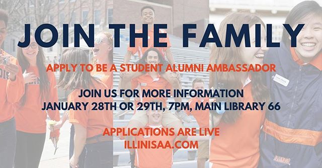 The Student Alumni Ambassadors have begun the recruitment process for our 2019 new member class! Come and join us at our info nights on January 28th or 29th at 7pm in Main Library 66 to meet us and learn more about who we are!