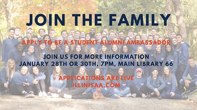 Join us for our info nights on Monday, January 28th or Wednesday, January 30th at 7pm in the Main Library room 66. Learn more about who we are and what we do, and meet current members! Applications are live at illinisaa.com 🔸🔹