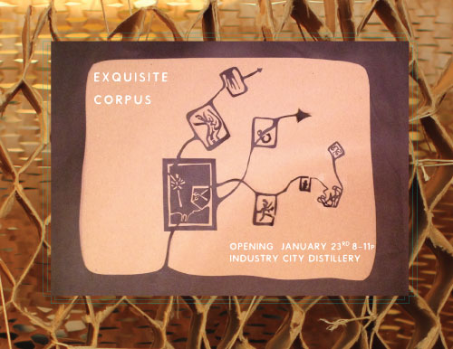 EXQUISITE CORPUS: ICD JANUARY 2015 - A GROUP SHOW, horizontally curated with 15 artists. Co-conceived by Cecelia Rembert.
