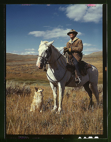Shepherd with his horse and dog, Gravelly Range, Montana. Photographed by Russell Lee.