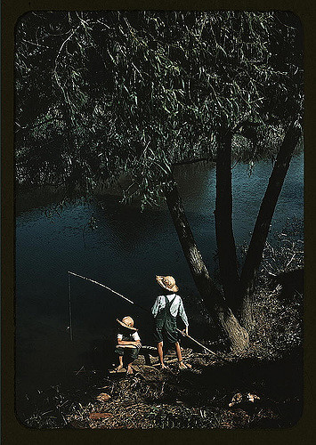 Boys fishing in a bayou, Schriever, Louisiana. Photographed by Marion Post Wolcott.