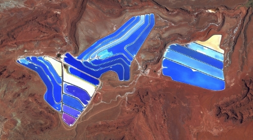 Moab Potash Evaporation Ponds in Moab, Utah, USA, from Overview by Benjamin Grant