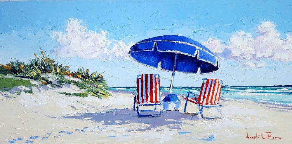 """""""Blue Umbrella"""" - 24x48 - $3,200.00"""