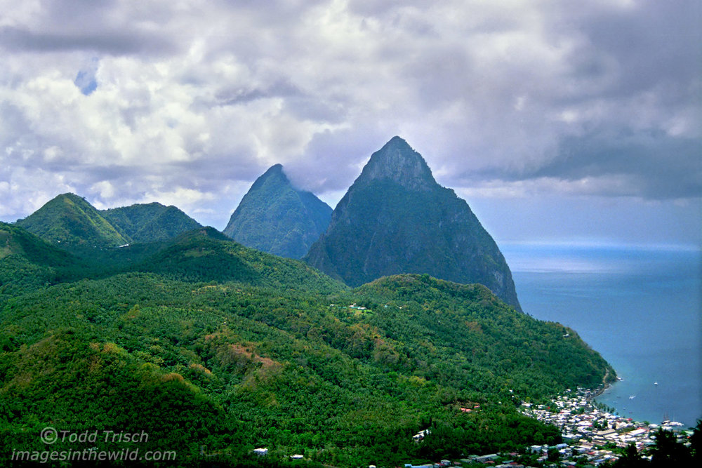 St. Lucia Pitons above Soufriere