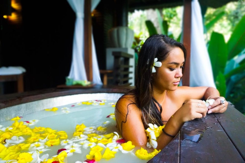flower bath in ubud, indonesia