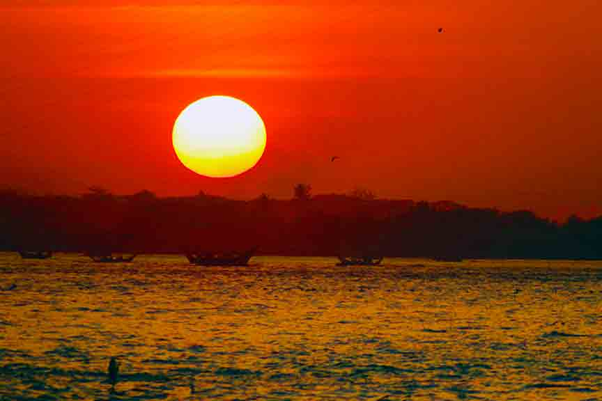 Sunset over Hlaing River Yangon