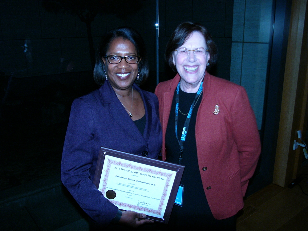 CT Commissioner miriam delphin-rittmon, phd accepting award at 2016 award ceremony 2/2/16