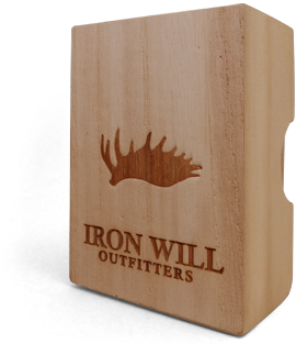 "*Custom lettering can be applied where ""Iron Will Outfitters"" is marked."
