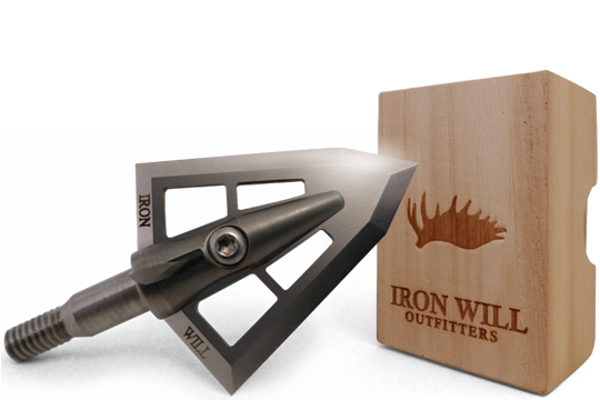 """*Custom engraving can be placed on both sides of the broadhead where """"Iron Will"""" is marked. Six character max on each side of the ferrule. Personalized wood box lettering can be applied where """"Iron Will Outfitters"""" is marked."""