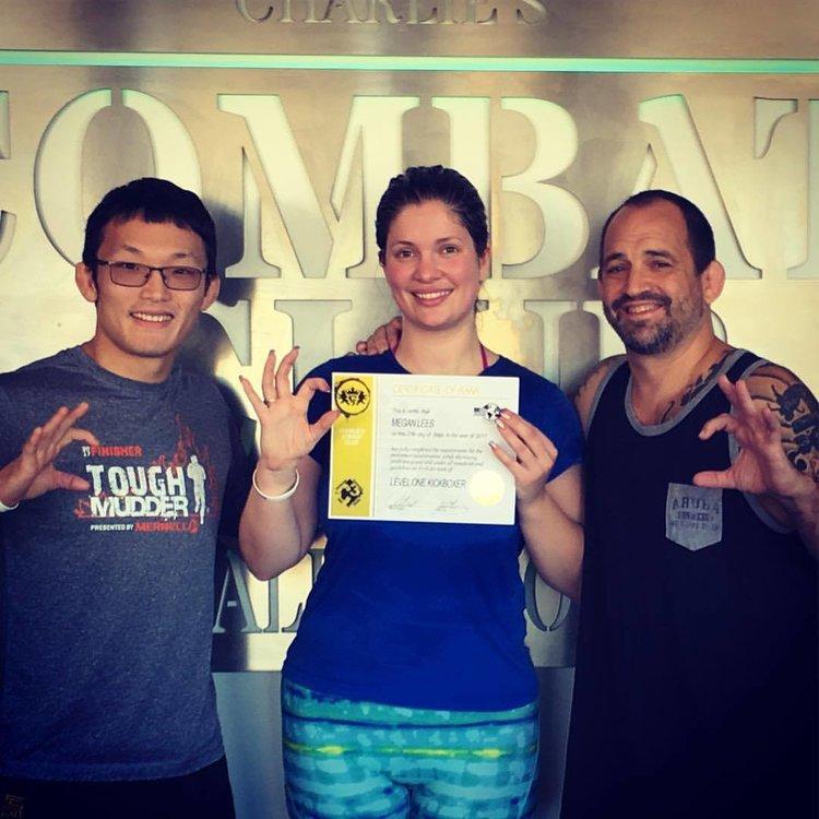 Charlies Combat Club Megan Earns Her Level 1 Kickboxing Certification