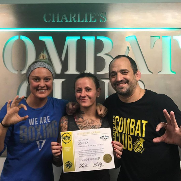 Charlies Combat Club Didy Earns Her Level 1 Kickboxing Certification