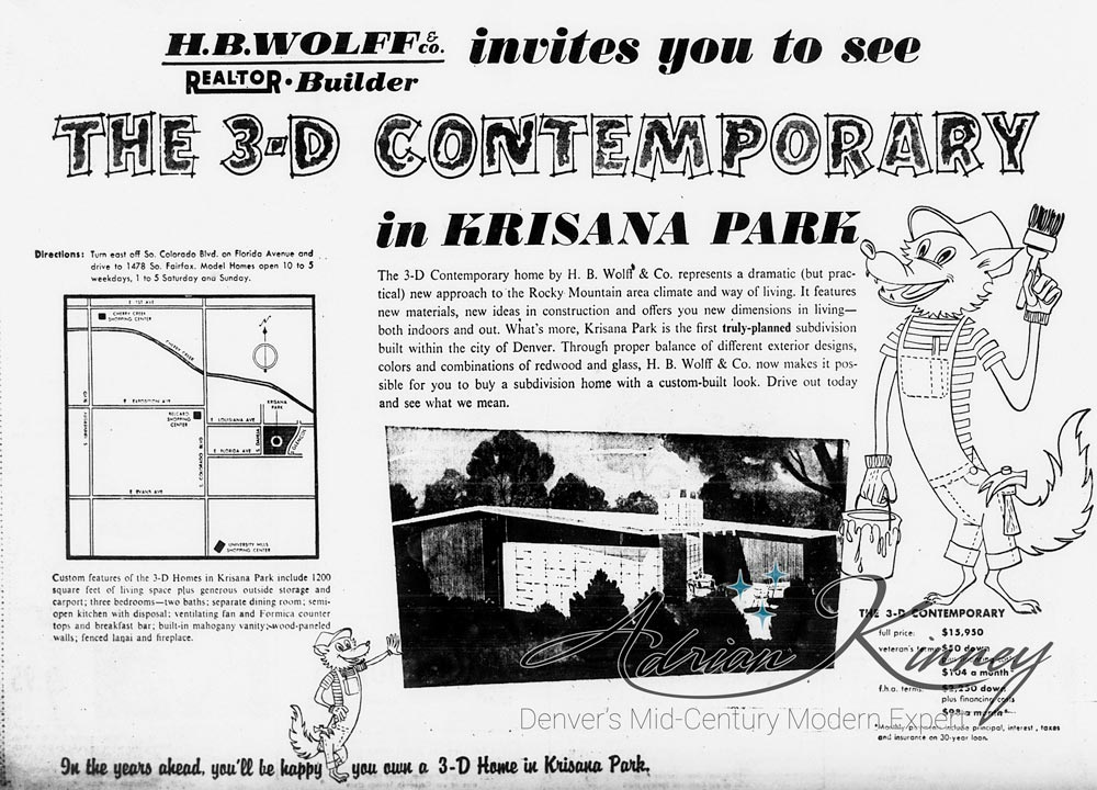 An original ad for Krisana PArk from October, 1954