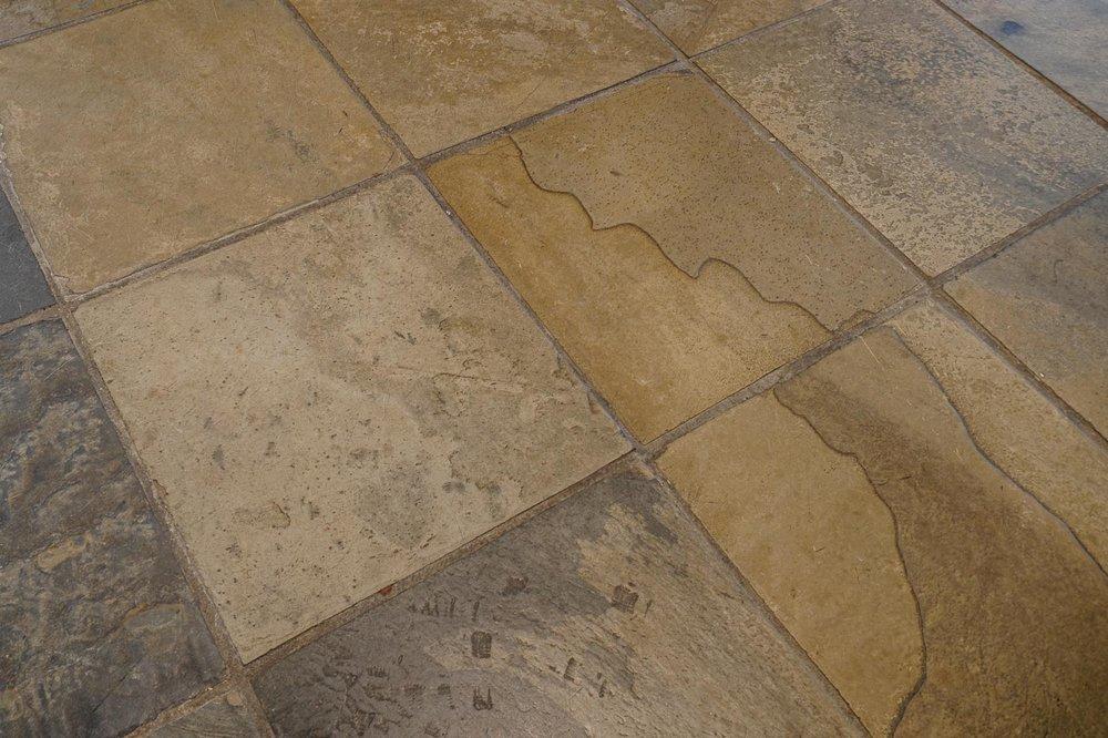 Natural slate flooring . . .