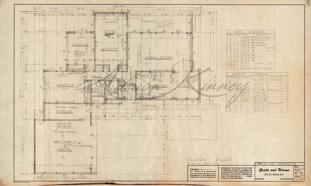 Original floor plan. Some changes have been made since this design, including enclosing the original lanai on the top right side of the plan with a sun room, converting the garage to a master suite, and adding a new garage in front of the original dining room.
