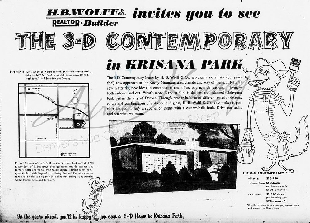 Ad for the 3-D Contemporary in Krisana Park by H.B. Wolff