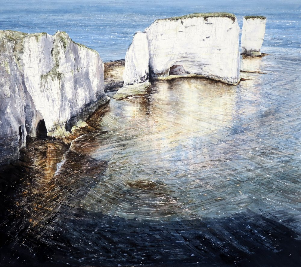 "Sunlight and Shadows - watercolour - image 80 x 92cm Old Harry Rocks is a name given to a chalk stack found below the cliffs at Ballard, east of Studland, marking the eastern end of the Jurassic Coast. There are two stories regarding the naming of the rocks. The name 'Harry' or 'Old Harry' were once familiar names for the devil, like the old saying, 'to play Old Harry' which means 'to ruin or destroy'. He is said to have taken a nap on the rocks! The other explanation links the name to the infamous pirate Harry Paye, who used to store his contraband nearby and use the rocks to lie in wait for passing ships. Either way, Old Harry Rocks were so-called as a warning to keep shipping well clear! The blinding sunlight reflecting off the chalk, modelled by softly contrasting shadows give shape and form to the cliffs. ""...for let the form of an object be what it may, - light, shade and perspective will always make it beautiful.""  – John Constable"