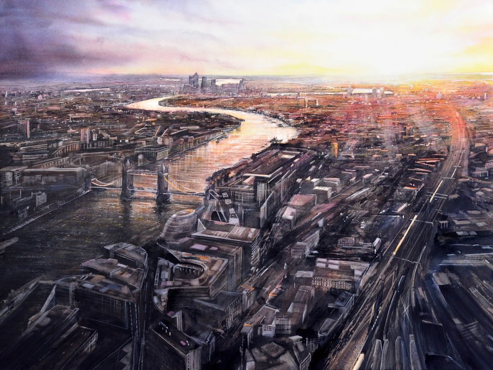 "Sunrise from The Shard - watercolour - image 83 x 110cm The Shard, completed in 2012 and standing at 310 metres (1016 ft), is the tallest building in Western Europe. On a clear day from the upper viewing gallery, on level 72, you can see for approximately 55 kilometres (35 miles) in each direction, affording the most magnificent views over the whole of London. Looking east, the Thames meanders under Tower Bridge towards the Thames Barrier, swaying rhythmically from right to left. Adding the pinks and golds of sunrise, the monotone city of the night comes to life. ""I thought of London spread out in the sun, Its postal districts packed like squares of wheat.""  – Philip Larkin"