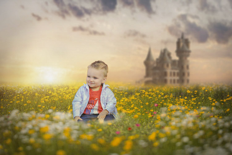 Child Portrait with Castle backdrop
