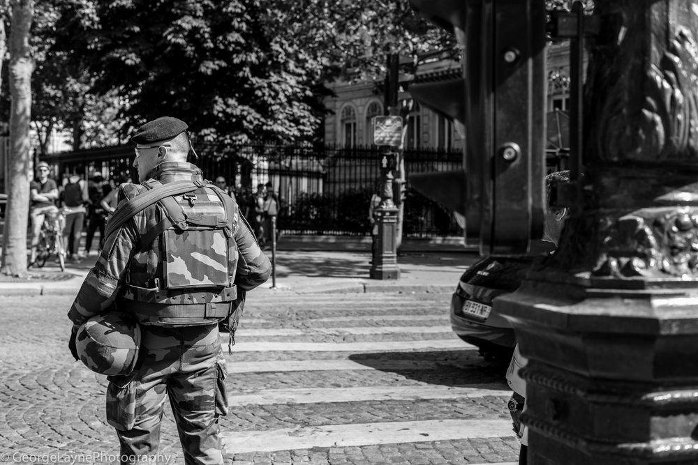 Heightened security in Paris meant soldiers on the streets were a common sighting.