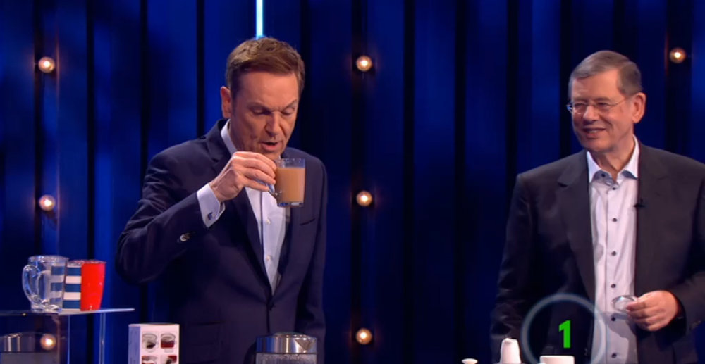Host Brian Conley samples a cup of tea brewed using a TEAPY®