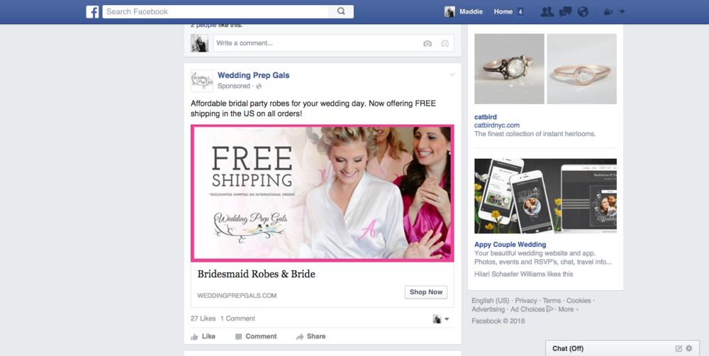 Facebook, Pinterest, and Adroll Ads