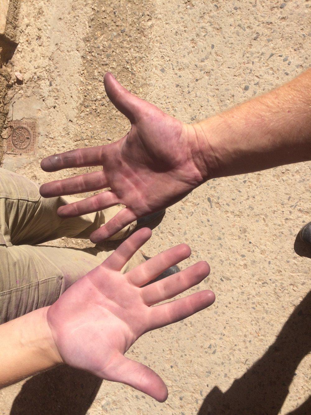 wijnmakers handen na een dag werk
