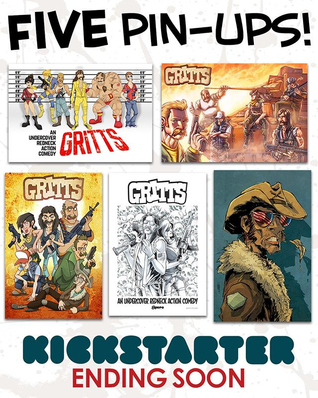 All 5 pin-ups that come with the $30 tier and above! LINK IN BIO @sperocomics @sperotoys Ends this Friday! Pledge today! #comics #giftideas #80s #90s #gijoe #theateam #graphicnovel #kickstarter #crowdfunding #indiecomics #cyberdeals #fun #comedy #reading #nyccomiccon #comic #comicbooks #art #instaart #blackandwhitecomics #rednecks #giftidea #forhim #payitforward #supportindiecomics