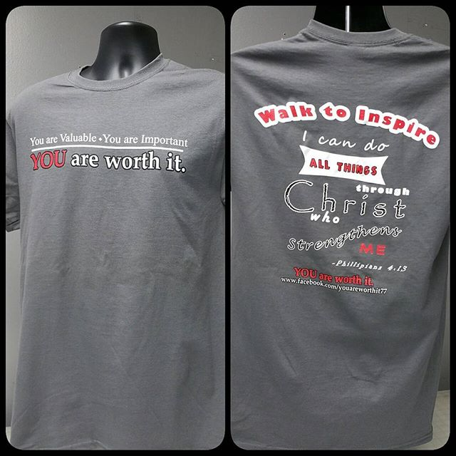 "Some ""You are worth it"" shirts that we printed today. #teesnthings #shoplocal #screenprinting #youareworthit"