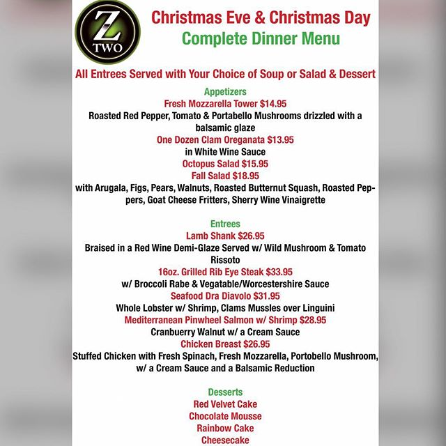 Take a look at our delicious #ChristmasEve and ChristmasDay menu!!!