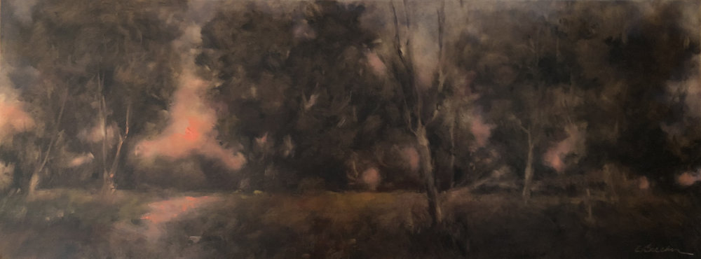 Coral Night  Oil on panel 12 x 24